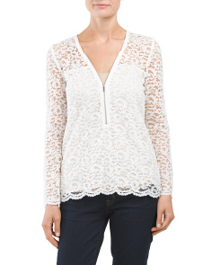 Lace And Zipper Blouse