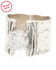 Made In Israel Sterling Silver Cubic Zirconia Wide Ring