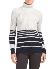 Cable Knit Striped Turtleneck Sweater