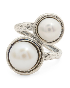 Made In Israel Sterling Silver Pearl Bypass Ring