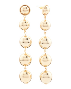 Linear Ball Drop Earrings In Gold Tone