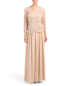 Three Quarter Sleeve Lace Top Gown
