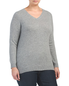 Plus Cashmere V-neck Sweater