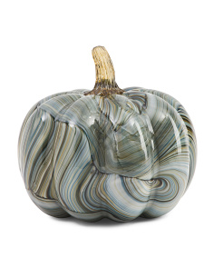 7in Marble Printed Glass Pumpkin