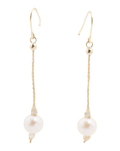 Made In Italy 14k Gold Fresh Water Pearl Drop Earrings