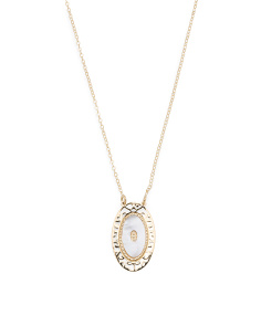 Made In Italy 14k Gold Mother Of Pearl Filigree Necklace