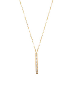 Made In Italy 14k Gold Pave Cubic Zirconia Bar Necklace