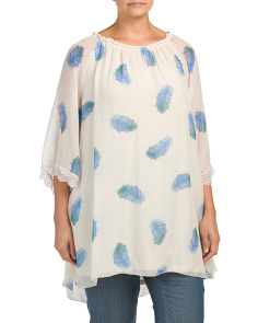 Plus Made In Italy Silk Feather Print Top