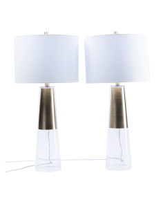 Set Of 2 Gold Plated Glass Lamps