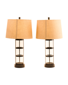 Set Of 2 Seeded Caged Glass Lamps