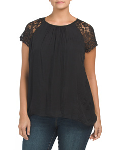 Plus Made In Italy Silk Top With Lace Detail