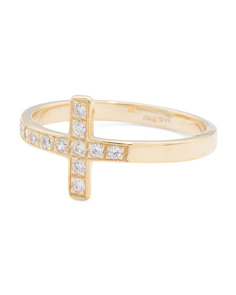 Made In Italy 14k Gold Pave Cubic Zirconia Cross Ring