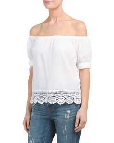 Juniors Off The Shoulder Lace Bottom Top