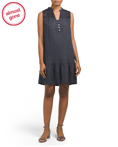 Made In Italy Linen Eyelet Dress