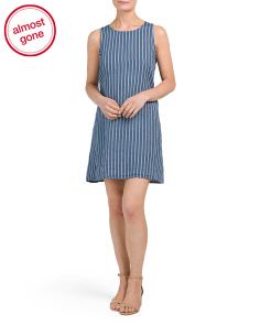 Made In Italy Linen Striped Shift Dress