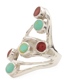 Made In Mexico Sterling Silver Multi Stone Open Ring