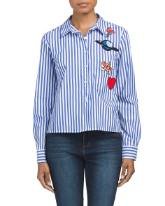 Juniors Striped Poplin Top With Patches