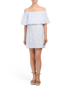 Juniors Off The Shoulder Embroidered Dress