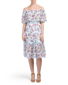 Juniors Cold Shoulder Printed Midi Dress