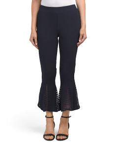 Flare Leg Pants With Crochet Inset