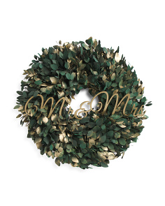 30in Preserved Silver Dollar Mr. & Mrs. Wreath
