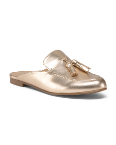 Soft Metallic Tassel Mules