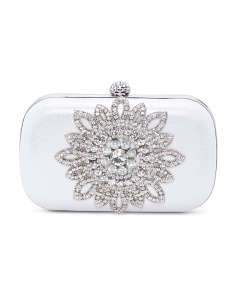 Rhinestone Brooch Clutch
