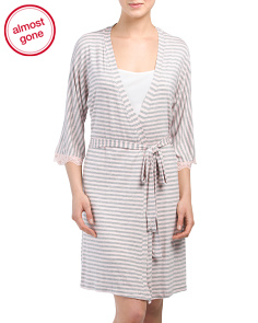 Striped Robe With Lace Trim