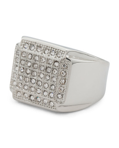 Men's Crystal Shield Signet Ring In Stainless Steel