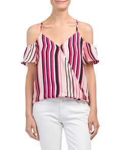 Juniors Striped Cold Shoulder Top
