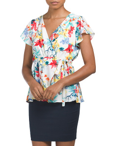 Juniors Floral Print Wrap Top