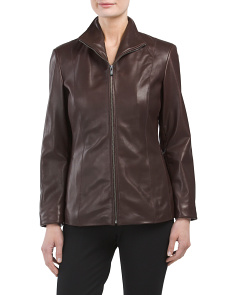 Zip Front Lamb Leather Jacket