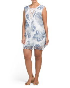 Plus Made In Italy Palm Print Silk Dress