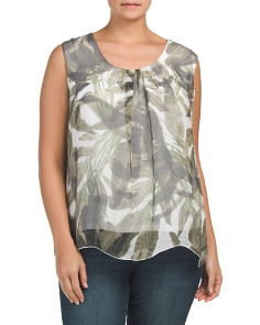 Plus Made In Italy Silk Palm Print Top