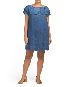 Plus Made In Italy Linen Ruffled Dress