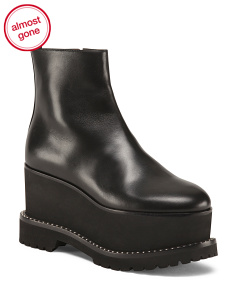 Made In Italy Studded Wedge Ankle Boots