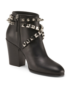 Made In Italy Studded Leather Bootie