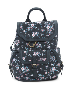 Floral Canvas Flap Backpack