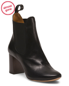 Made In Italy Flared Heel Leather Booties