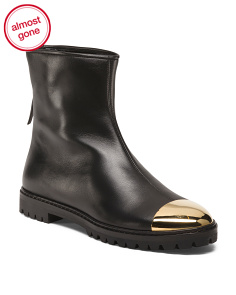 Made In Italy Metallic Cap Leather Boots