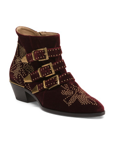 Made In Italy Studded Floral Pattern Velvet Boots