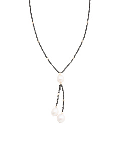 Made In Usa 14k Gold Black Spinel And Pearl Lariat Necklace