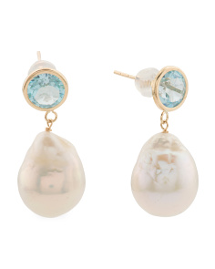 Made In Usa 14k Gold Blue Topaz And Baroque Pearl Earrings