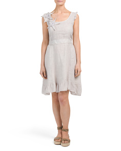 Made In Italy Linen Ruffled Dress