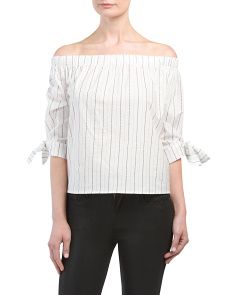Juniors Off The Shoulder Striped Top