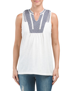 Embroidered Split Neck Tank Top