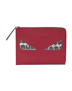 Made In Italy Leather Monster Clutch