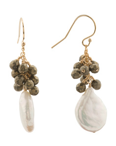Made In USA 14k Gold Filled Pearl Pyrite Earrings