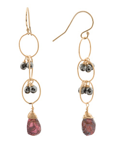 Made In USA 14k Gold Filled Garnet And Pyrite Earrings