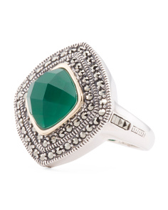 Made In Thailand Silver And 14k Green Agate Marcasite Ring